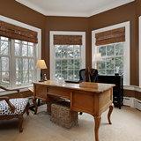 Английские окна с деревянными жалюзи