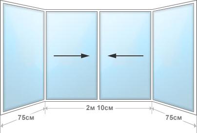 Оконный блок 1.5м×3.6м с углами